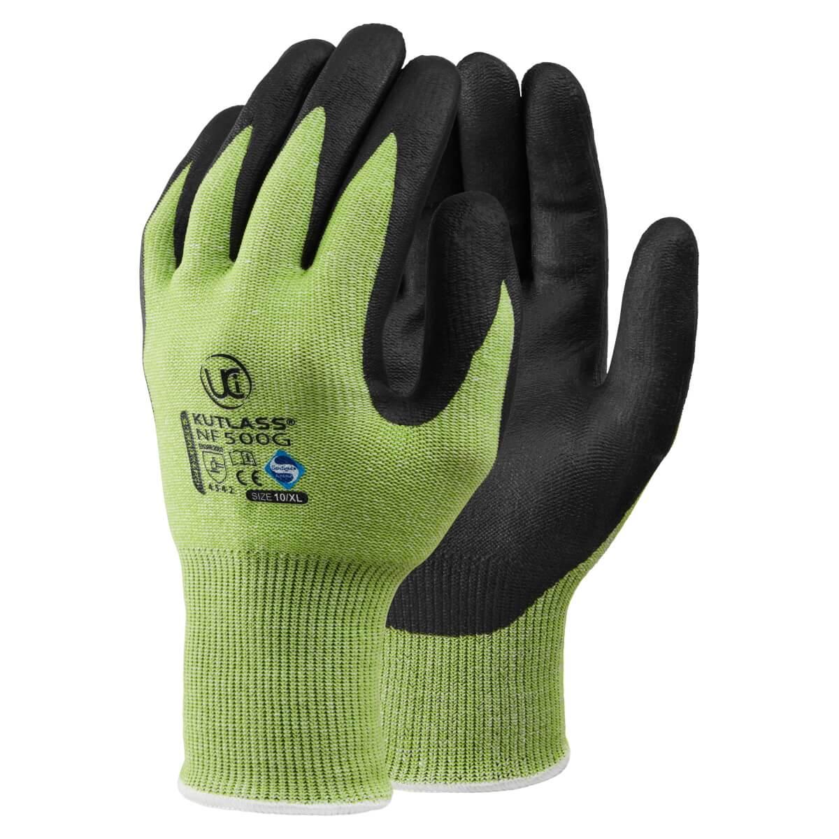 GL4143 Kutlass Cut Level 5 Black Nitrile Palm Coated Gloves