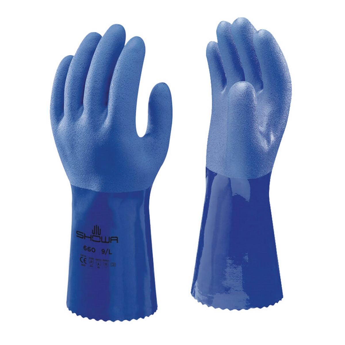 Showa Blue PVC Gauntlet, 14″ long
