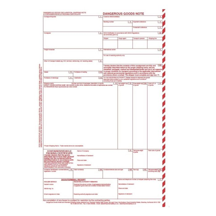AE0010 Dangerous Goods Notes (DGN Notes) Glued - Pack of 100 sets