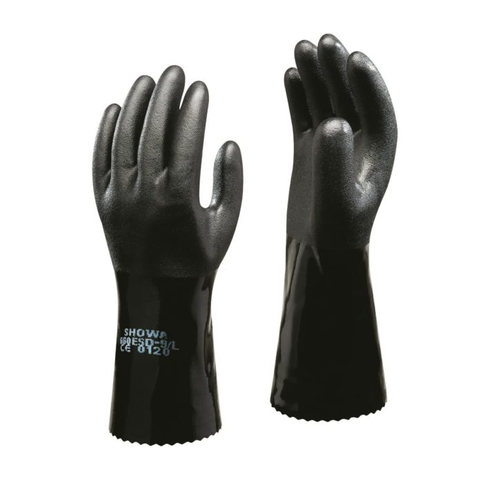 "SHOWA PVC 14"" Black Anti-static ESD Gauntlet"