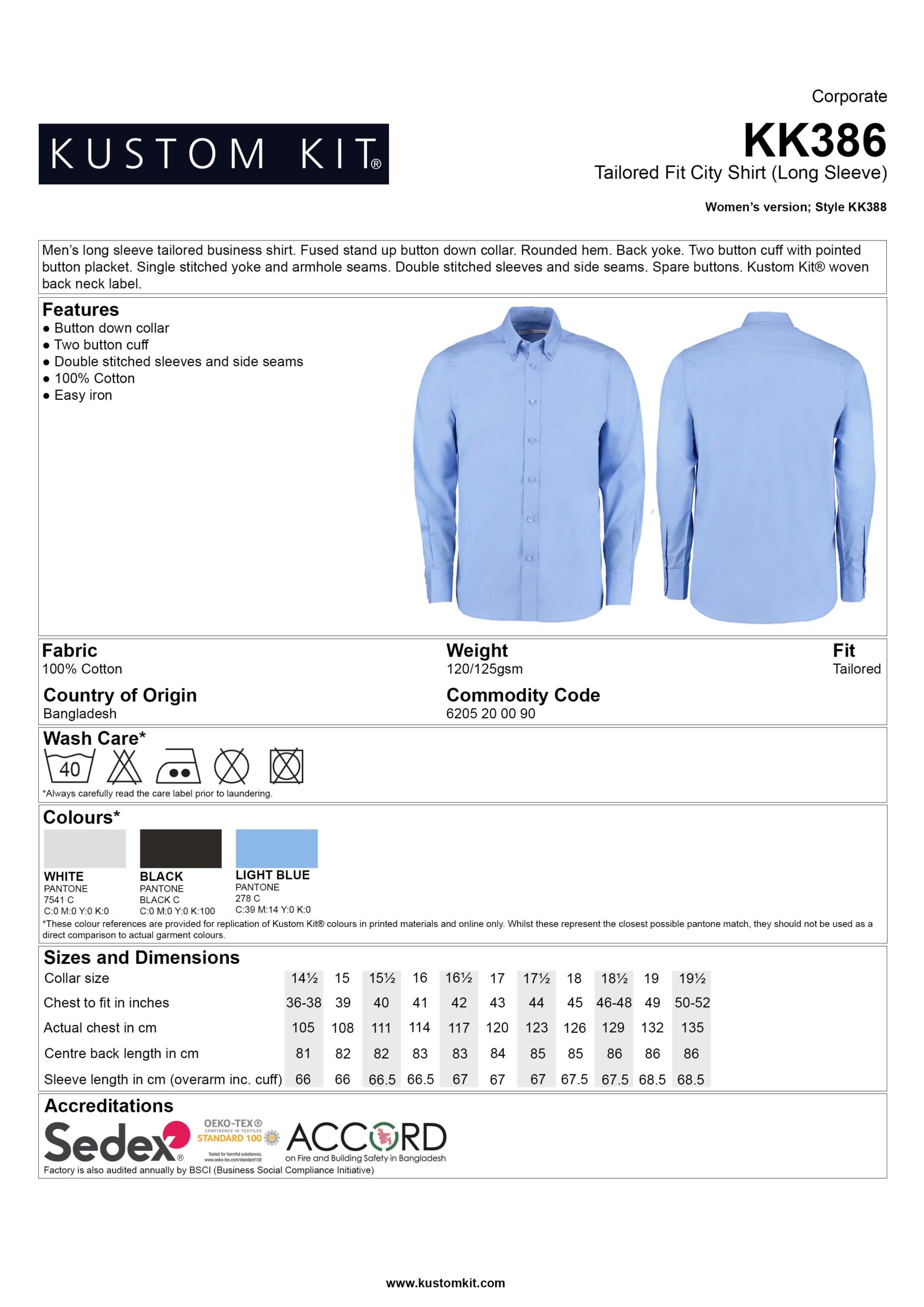 SH3860 100% Cotton L ong Sleeve Oxford Shirt Data Sheet