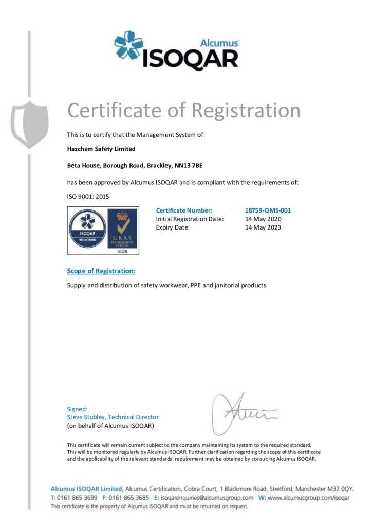 ISO9001 18759 Hazchem Safety Limited QMS 1 pdf