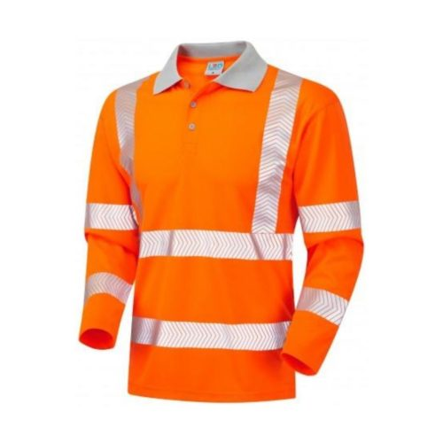 HV0038 Hi-Vis Long Sleeve Coolvis Polo Shirt - Orange
