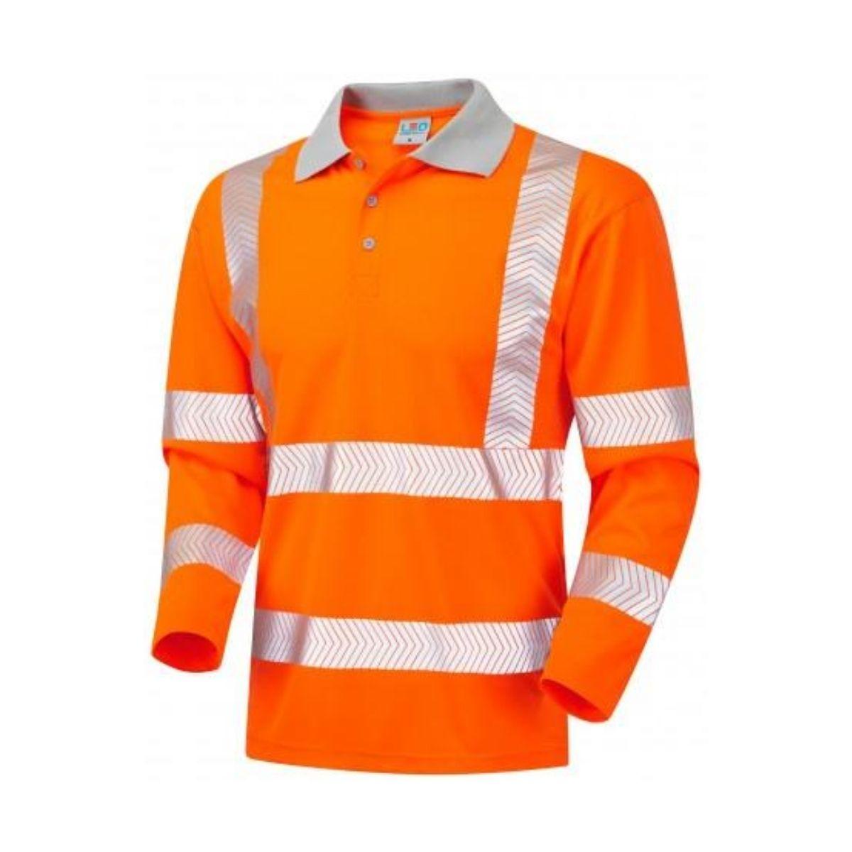 HV0038 Hi-Vis Long Sleeve Coolvis Polo Shirt - Orange