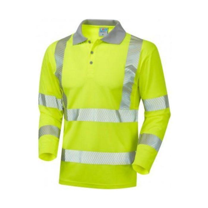 HV0038 Hi-Vis Long Sleeve Coolvis Polo Shirt - Yellow