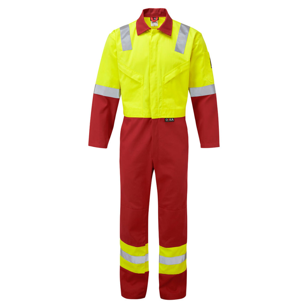 FR7933 ORKA Hudson Two Tone Coverall - RED-YEL