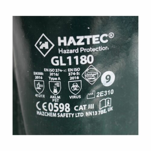 GL1180 HAZTEC® Double Dipped Green PVC Gauntlet, 14 - Label