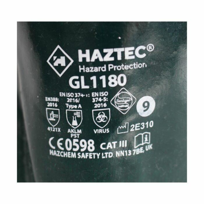 GL1180 HAZTEC® Double Dipped Green PVC Gauntlet, 14 - Label