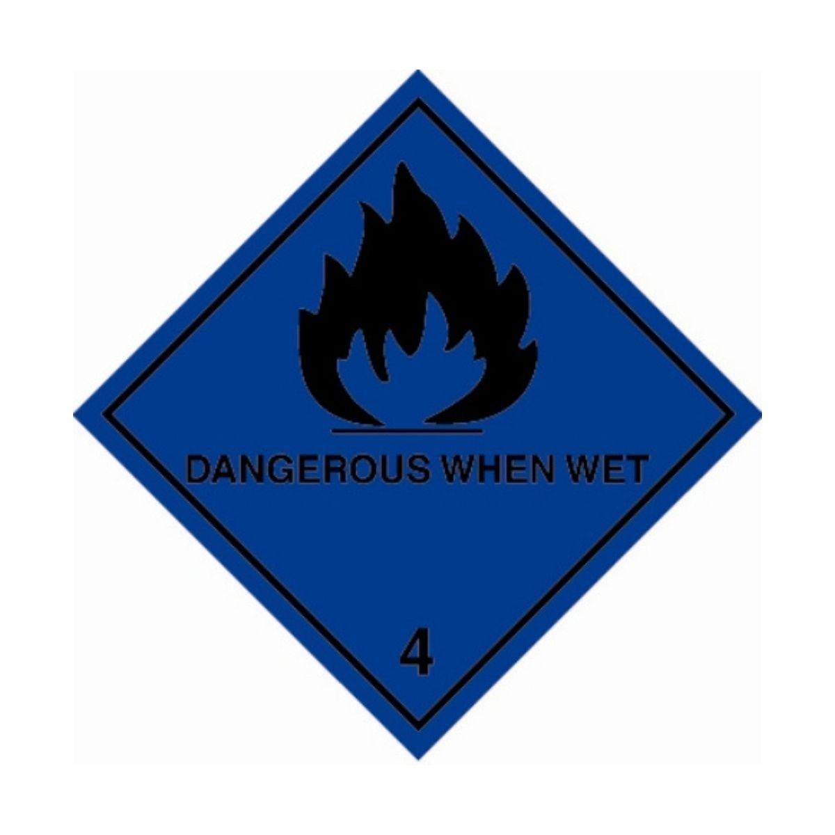 HD1412 UN Hazard Warning Diamond Class 4.3 Dangerous When Wet