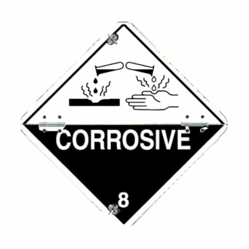 VS0045 Class 8 Corrosive Folding Aluminium Hazard Warning Diamond 250 x 250mm