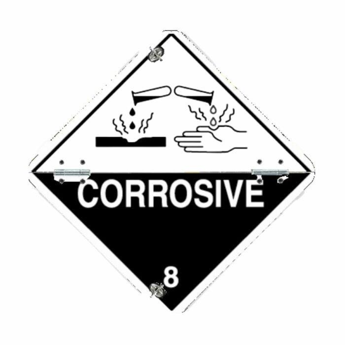 VS0045 Class 8 Corrosive Folding Aluminium Hazard Warning Diamond 250 x 250mm