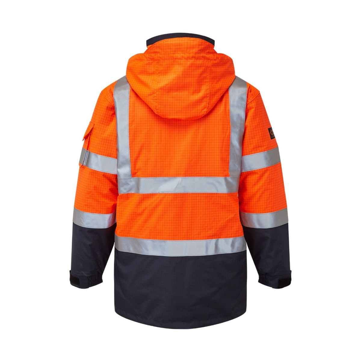 AS9464 HAZTEC® Boulton FR AS Hi-Visibility Waterproof Traffic Jacket - Orange_Navy Back