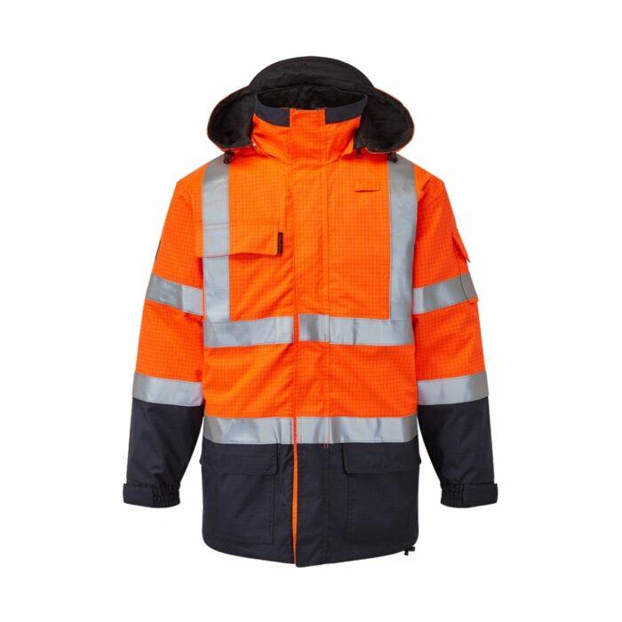 AS9464 HAZTEC® Boulton FR AS Hi-Visibility Waterproof Traffic Jacket - Orange_Navy Front
