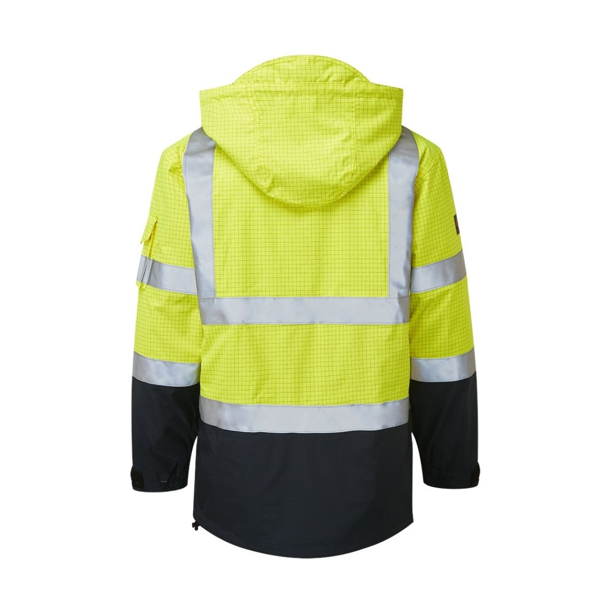 AS9464 HAZTEC® Boulton FR AS Hi-Visibility Waterproof Traffic Jacket - Yellow_Navy Back