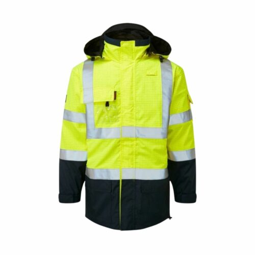 AS9464 HAZTEC® Boulton FR AS Hi-Visibility Waterproof Traffic Jacket - Yellow_Navy Front