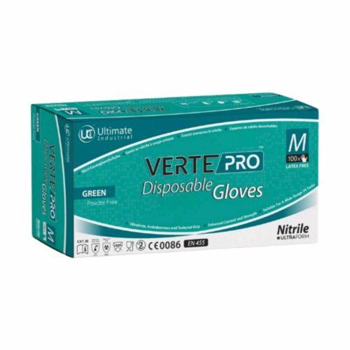 GL0035 DG VertePro Green Nitrile Disposable Gloves, Box of 100