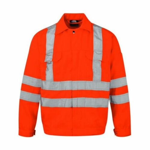 HV0020 Hi-Vis Orange Poly-Cotton Work Jacket GO_RT