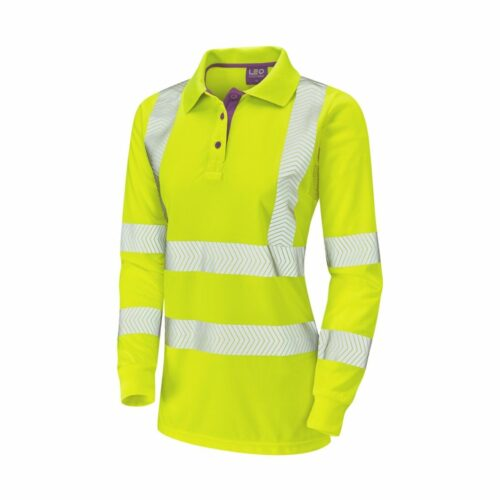 HV0034 Coolviz Plus Ladies Long Sleeved Polo Shirt - Yellow