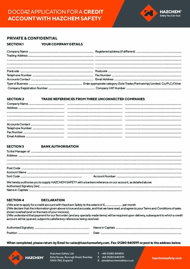 DOC042 DOC043 Credit Account Application TCs V1.3