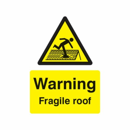 SS14261E Warning Fragile Roof (200 x 150mm)