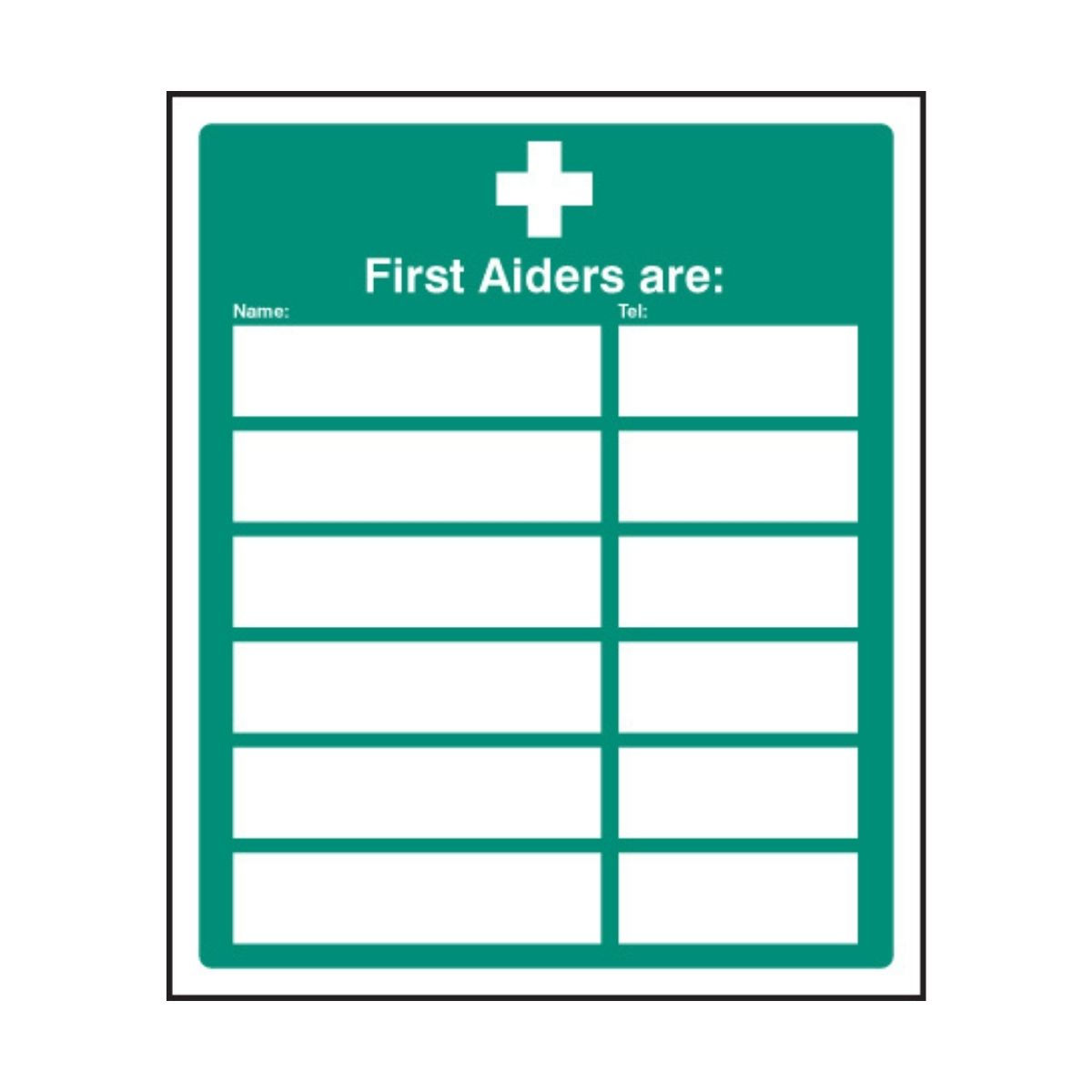 SS16022H First Aiders Are (Space For 6) (300 x 2500mm)