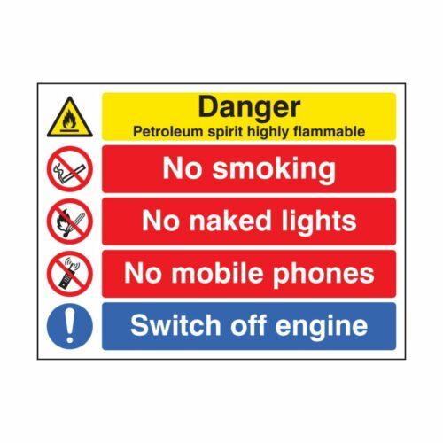 SS16228Q Petroleum Spirit Highly Flammable_No Smoking Etc (600 x 450mm)