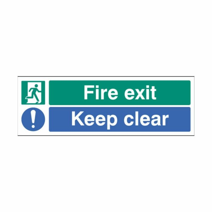 SS22062L Fire Exit - Keep Clear (450 x 150mm)