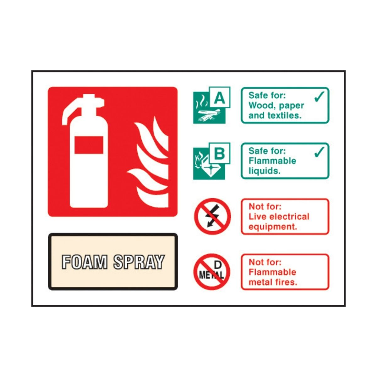 SS31234D Foam Spray Extinguisher Identification (100 x 150mm)