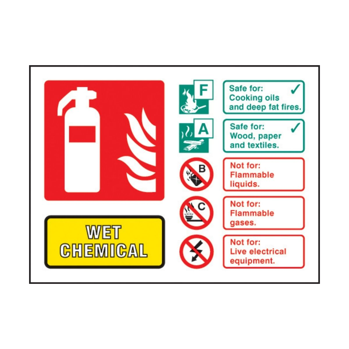 SS31236D Wet Chemical Extinguisher Identification (100 x 150mm)
