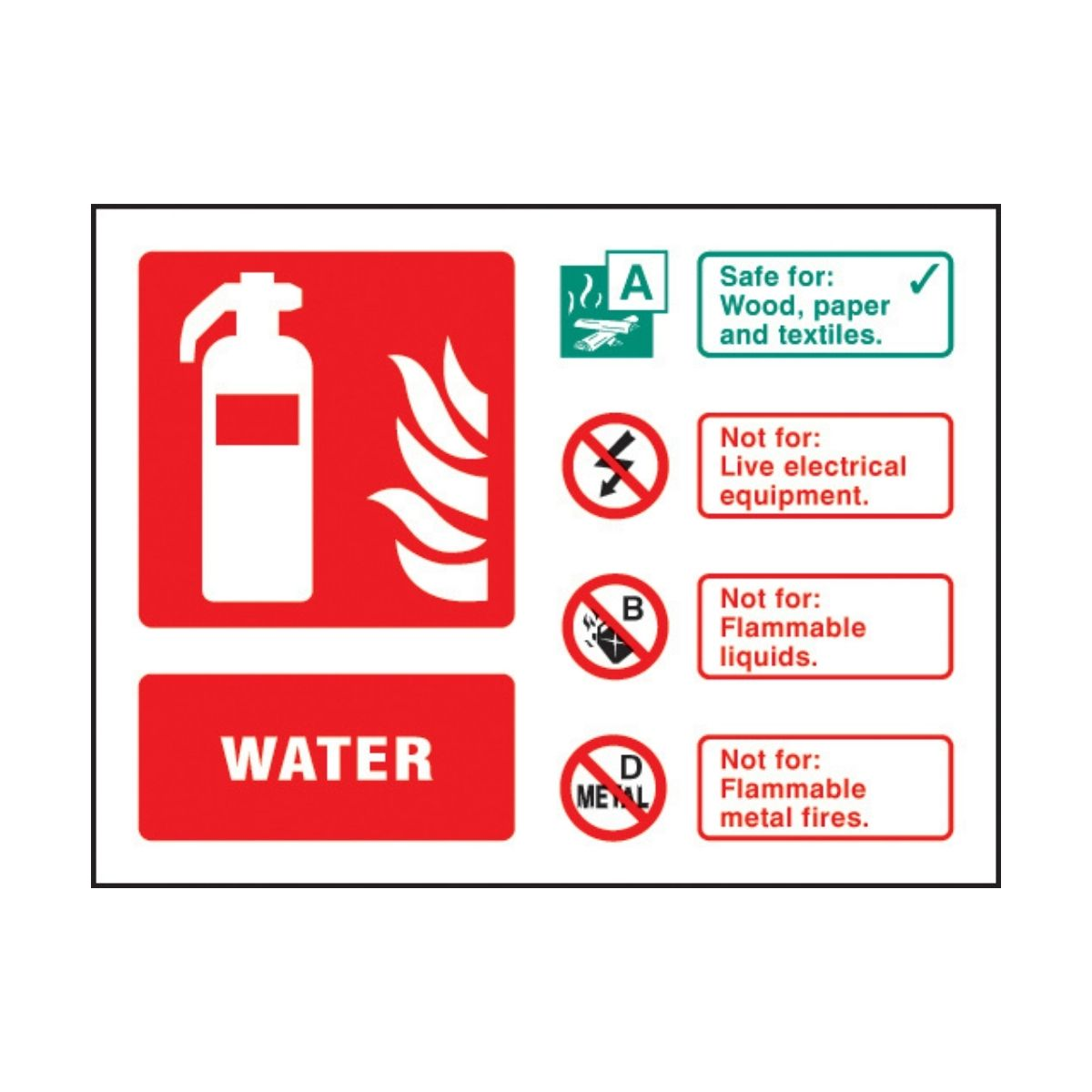 SS31237D Water Extinguisher Identification (100 x 150mm)