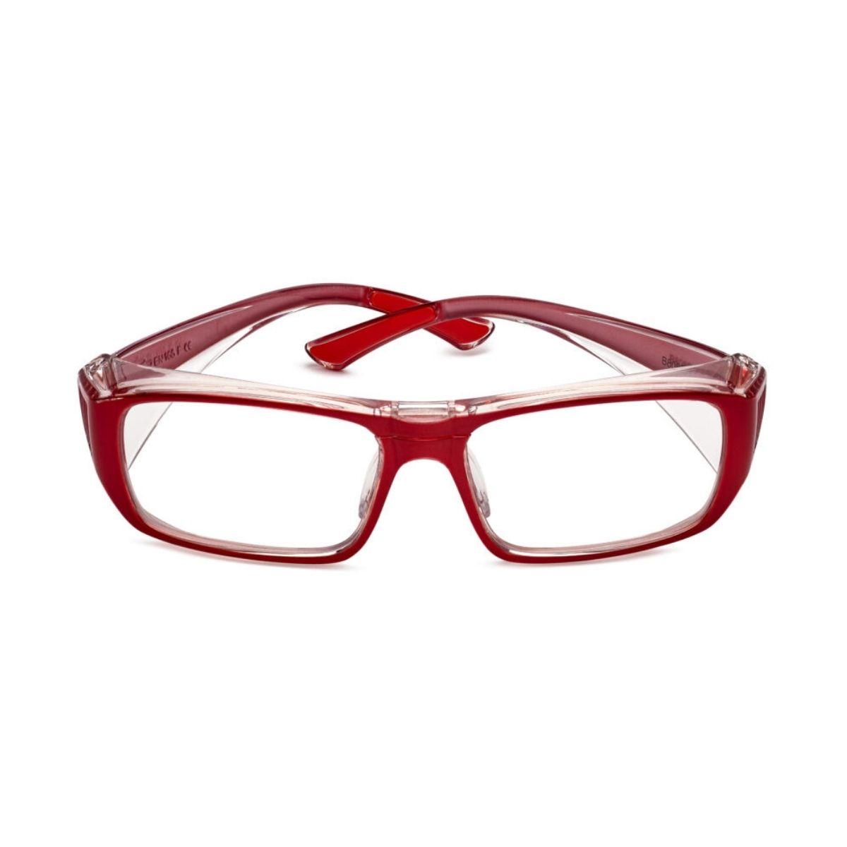 Red prescription safety glasses