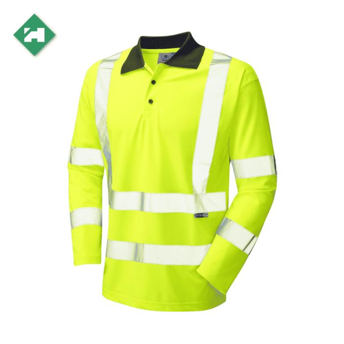 HV0170_EcoViz Long Sleeved Polo Shirt_Yellow
