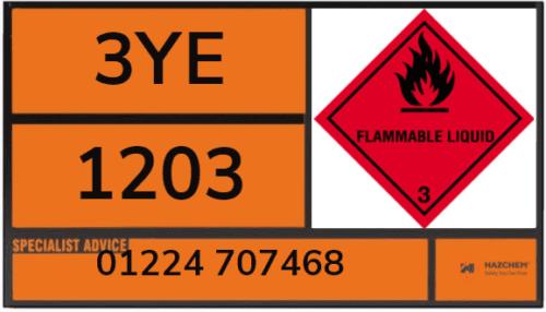 3YE 1203 Petrol Tanker Warning Panel