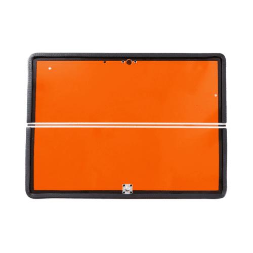 VS0009_Horizontally Folding Hazchem Plate 400 x 300 With Rubber Edge & Push Catch